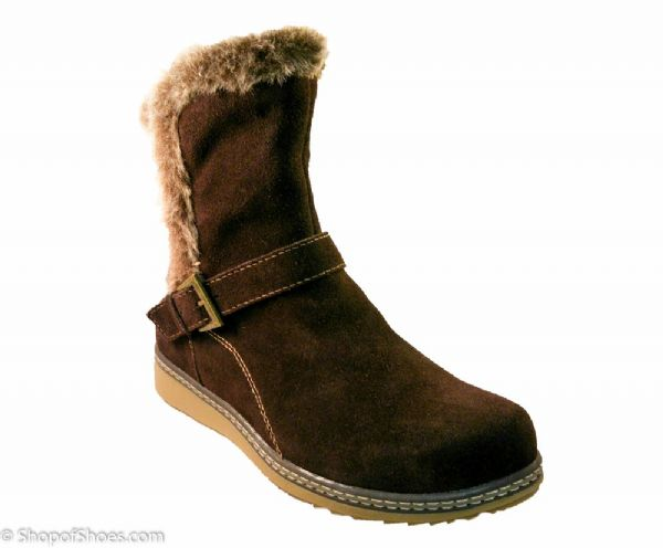 Ladies soft Brown suede warm faux fur winter ankle boot